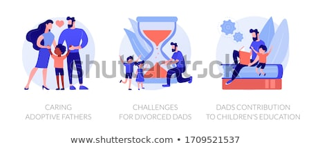 Daddy Caring for Children, Father and Kid Set Stock photo © robuart
