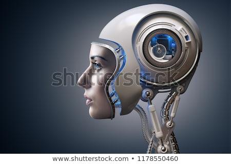 Humanoid robot mikrocsip kezek szöveg 3d illusztráció Stock fotó © limbi007