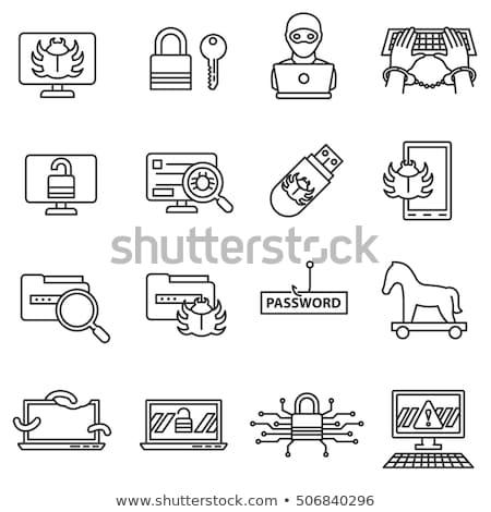 conjunto · polícia · doze · preto · ícones - foto stock © netkov1