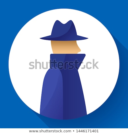 Anonymity concept, spy, detective, agent, anonym in coat and hat icon, anonymous, vector illustratio Stock photo © MarySan