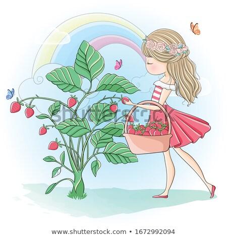 Cute ragazza fragole giardino primavera Foto d'archivio © AndreyPopov