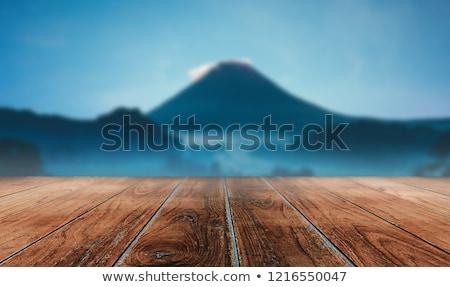Gekozen focus lege bruin houten tafel blauwe hemel Stockfoto © Freedomz