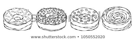 Szín fánk édes reggeli desszert kézzel rajzolt Stock fotó © pikepicture