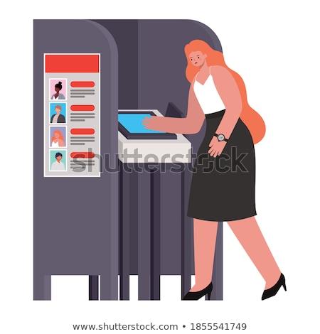 голосование Lady икона кнопки дизайна Сток-фото © angelp