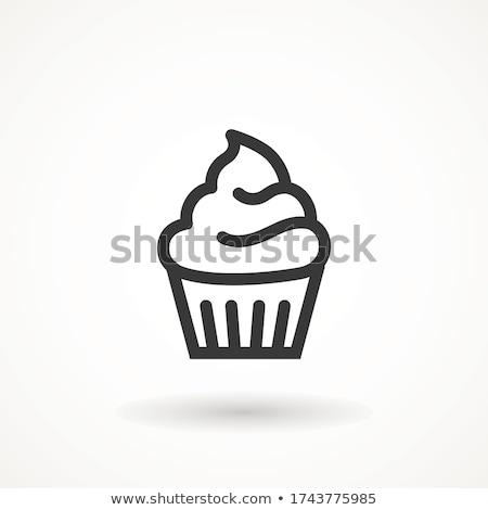 Muffin icon roze vector illustratie ontwerp Stockfoto © cidepix