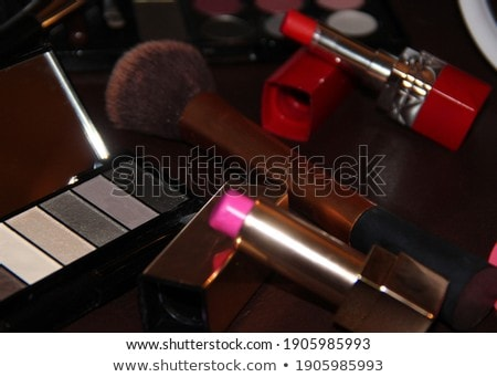 Eyeshadow palette and make-up brush on wine background, eye shad Stock photo © Anneleven