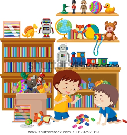 Scene with two boys playing in the room Stock photo © bluering