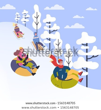 Family Snow Tubing, People on Winter Vacation Stock photo © robuart