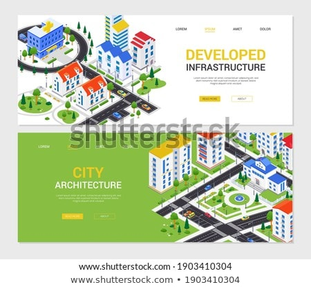 Hospital - modern colorful isometric vector web banner Stock photo © Decorwithme