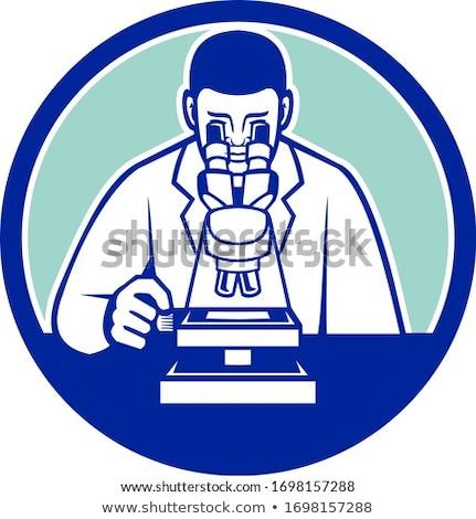 ученого глядя микроскоп талисман икона иллюстрация Сток-фото © patrimonio
