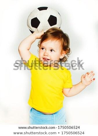 pequeño · futbolista · pelota · dedo · aislado - foto stock © lunamarina