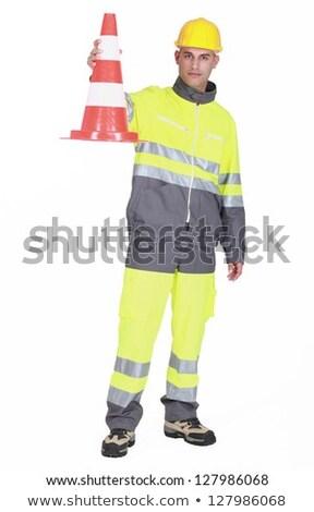 Traffic guard holding a pylon Stock photo © photography33