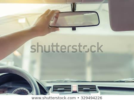 Tükröződés nő tükör autó utazás napszemüveg Stock fotó © bmonteny