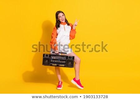Hiphop lány kézmozdulat hello nő divat Stock fotó © Paha_L