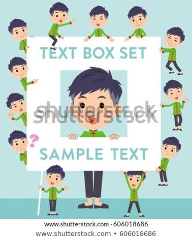 Chinese ethnic clothing man text box stock photo © toyotoyo