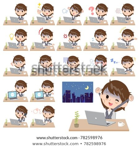 Gray suit business women Bad condition_desk work Stock photo © toyotoyo
