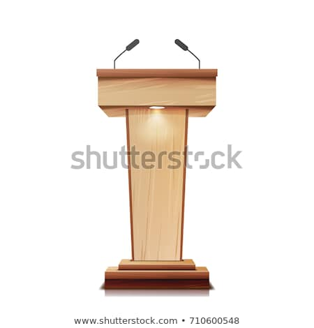 tribune with two microphones on white background. Isolated 3D il Stock photo © ISerg