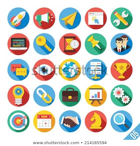 Hosting kleur vector iconen web Stockfoto © ayaxmr