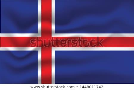 Islândia bandeira mão branco projeto assinar Foto stock © butenkow
