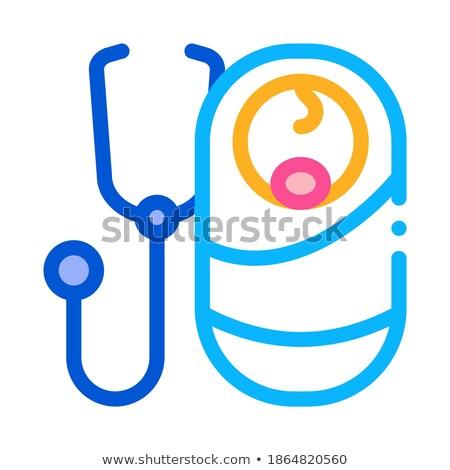 Hallgat lélegzet újszülött baba ikon vektor Stock fotó © pikepicture