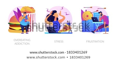 Egészségtelen táplálkozás vektor metafora éhes nő Stock fotó © RAStudio