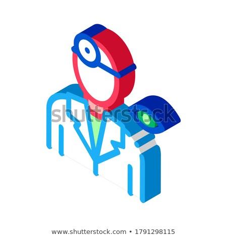 Göz doktoru doktor siluet izometrik ikon vektör Stok fotoğraf © pikepicture