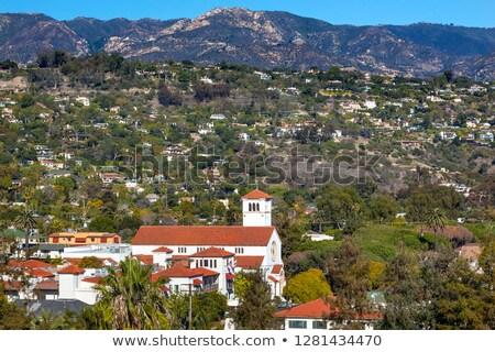 White Adobe Methodist Church Houses Mountain Santa Barbara alifo Stock photo © billperry