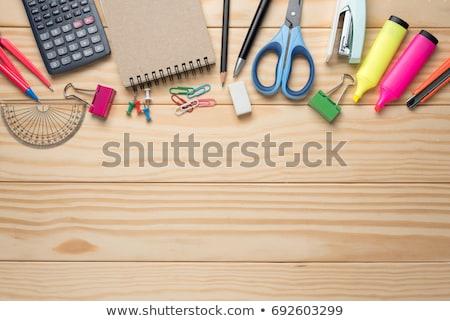 Büro Werkzeuge Holztisch Schule Stift Bleistift Stock foto © fuzzbones0