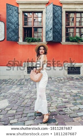 portrait · séduisant · puce · femme · dame · ciel - photo stock © konradbak