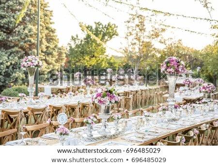 Bruiloft banket stoelen tabel ingericht kaarsen Stockfoto © ruslanshramko