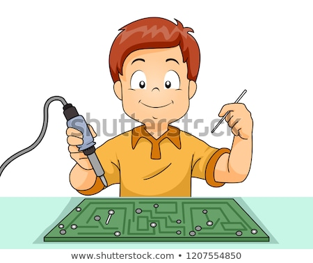 Kid Boy Soldering Iron Illustration Stock photo © lenm