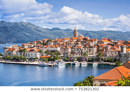 Korcula. Historic town of Korcula cathedral and architecture aer Stock photo © xbrchx