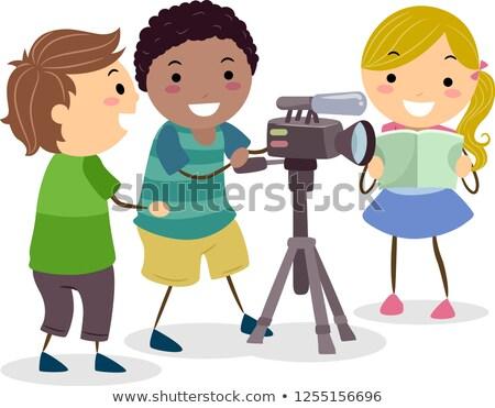 Stickman Kids Recording Video Camera Illustration Stock photo © lenm