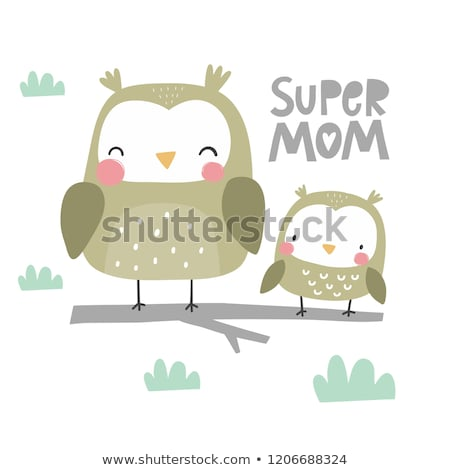 Mothers day owls on a tree Stock photo © Imaagio