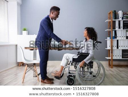Сток-фото: бизнесмен · рабочих · служба · сидят · коляске
