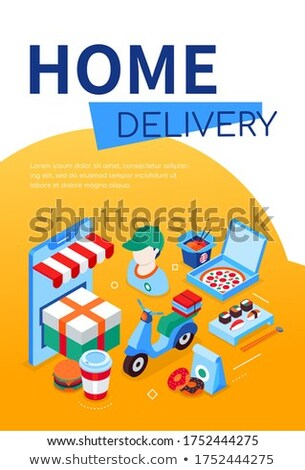 Home delivery - modern colorful isometric web banner Stock photo © Decorwithme