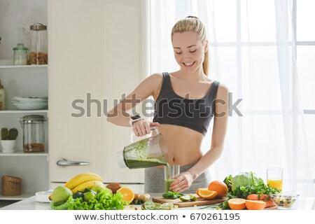 Ingredients for preparing green healthy detox smoothie. Stock photo © Illia