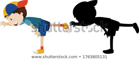 Ragazzo posa esercizio cardio contorno silhouette Foto d'archivio © bluering