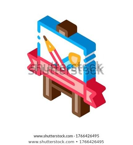 Estudiante pintura lección icono vector Foto stock © pikepicture