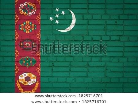 Zászló Türkmenisztán téglafal festett grunge textúra Stock fotó © creisinger