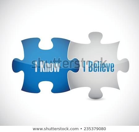 Tudás kék puzzle fehér tudomány tanulás Stock fotó © tashatuvango