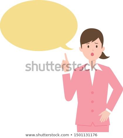 女性実業家 思考バブル 孤立した 白 ストックフォト © bmonteny