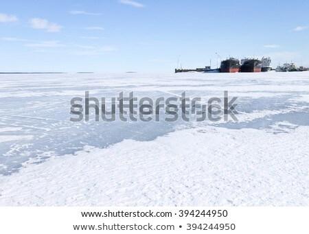 Port at frozen lake Stock photo © bmonteny