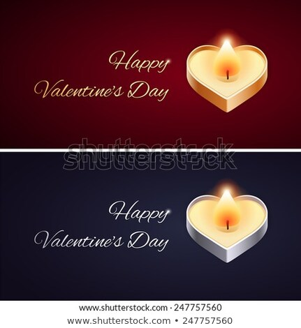simple valentines day card with golden and silver candle stock photo © voysla