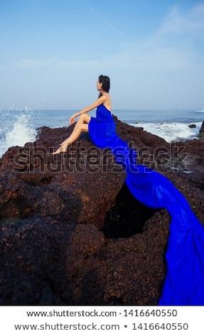 seksueel · brunette · dame · groot · borst · poseren - stockfoto © neonshot