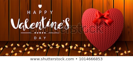 happy valentines day greeting card with knitted hearts vector illustration stock photo © carodi