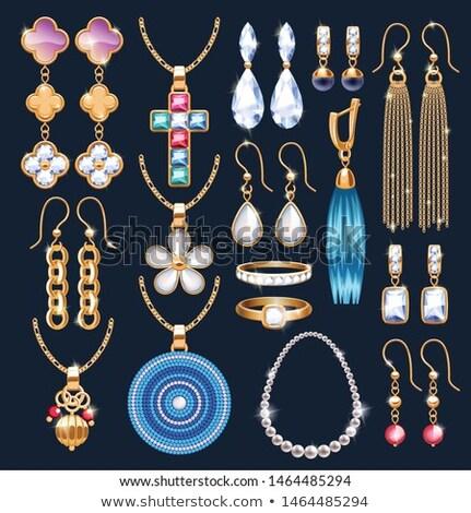 Boucles d'oreilles collier ensemble luxe produits diamants Photo stock © robuart