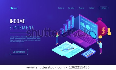 Income statement isometric 3D landing page. Stock photo © RAStudio