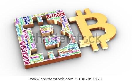 Stockfoto: 3D · bitcoin · woordwolk
