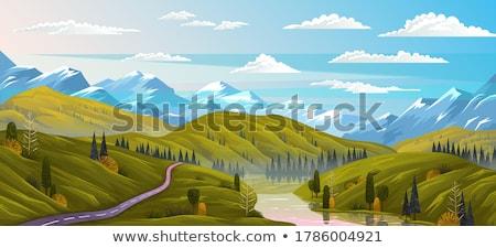 tájkép · dombok · folyó · vektor · terv · illusztráció - stock fotó © colematt